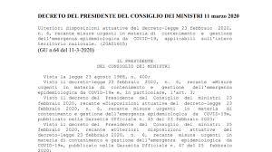 Emergenza Coronavirus, l'Italia di ferma dal 12 marzo: il testo ...