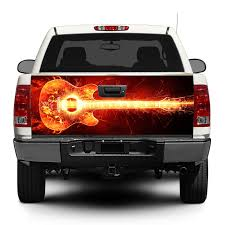 Product Guitar Buring Rock Music Tailgate Decal Sticker Wrap Pick Up Truck Suv Car