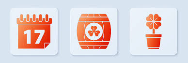Set Wooden Barrel With Four Leaf Clover Saint Patricks Day With Calendar And Four Leaf Clover In Pot White Square Button Vector Stock Illustration Download Image Now Istock