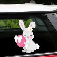 New Removable Reusable Stickers For Car Happy Easter Lovely Bunny With A Colored Egg In Hands Home Car Stickers And Decals Car Stickers Aliexpress