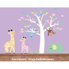 Pastel Colored Nursery Decals Nursery Wall Decals Baby Room Wall Stickers Tall Giraffe Decal Elephant Decal Monkey