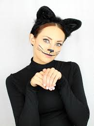 diy last minute black cat halloween makeup