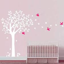 Amazon Com Tree Wall Decal Large Nursery Tree Decals With Birds Vinyl Wall Art Home Decor For Baby Room Nursery Bedroom White Pink L Kitchen Dining