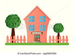 Cute Pink School Building With Yard And Fence A School Building Isolated On White