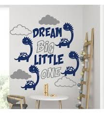 Quote Wall Decal Kids Room Decor Dream Big Little One Baby Room Decor Dinosaur Decal Dream Big Decal Cloud Decal Boy Room Decor Quote For Kids