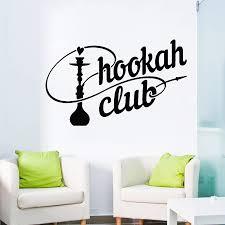 Hookah Club Sign Wall Decal Shisha Smoking Arabic Cafe Decor Wall Sticker Self Adhesive Home Decoration Living Room Bedroom D445 Wall Stickers Aliexpress
