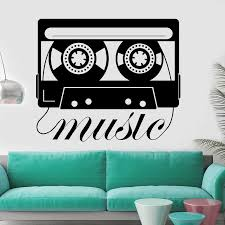 Music Wall Decal Vintage Nodic Style Decoration Cassette Tape Recorder Design Vinyl Wall Stickers Living Room Art Decor Y644 Wall Stickers Aliexpress