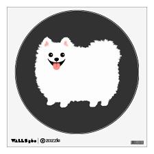 Cute White Pomeranian Cartoon Dog Wall Decal Zazzle Com