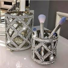silver makeup brush holder saubhaya