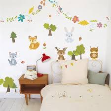 Happy Forest Animals Rabbit Dear Tree Plant Flower Wall Sticker Kids Rooms Children Sofa Home Decor Wall Decal Poster Mural Wall Stickers Aliexpress