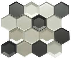 mixed 3d hexagon glass mosaic tile