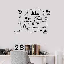 Pirate Treasure Map Kids Play Room Vinyl Wall Decal Home Decor Bedroom Art Mural Wall Stickers Wall Stickers Aliexpress