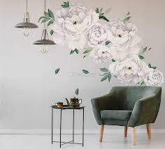 White Peony Floral With Green Leaves Wall Decal Sticker Wall Decals Wallmur
