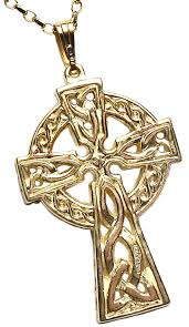 mens yellow gold double sided celtic cross