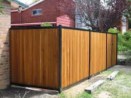 Wood Fence With Black Posts Modern Fence Backyard Fences Wood Fence