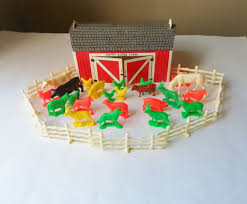 Farm Animals With Barn 28 Plastic Animals And Fence Pieces Etsy