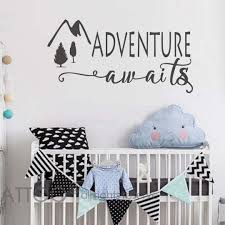 Amazon Com Battoo Adventure Awaits Wall Decal Stickers Adventure Quotes Travel Theme Wall Decor Wanderlust Wall Decal Mountain Wall Decal Bedroom Decor Custom 30 Wx15 H Furniture Decor