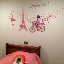Flower Fairy Bicycle Nursery Wall Decals Pink Paris Tower Dream Wall Stickers Removable Girls Bedroom Living Room Decor Mural Ar Wall Stickers Aliexpress