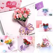 Romantico 3d Flores Secas Emergentes Tarjeta De Papel Plegable