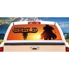 Cowboy Up Rear Window Graphic Decal Truck Gift View Thru Vinyl Horses Walmart Com Walmart Com