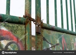 Rusty Padlock Gate Meadow Fence Slovakia Stock Photo C Valalolo 350140386