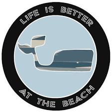 Blue Whale Life Is Better At The Beach 3 5 Car Truck Window Bumper Graphics Vinyl Sticker Decal Vacation Tourist Travel Souvenir Sea Life Beach Ocean Creatures Fun Sun