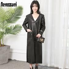 nerazzurri long faux leather coat women