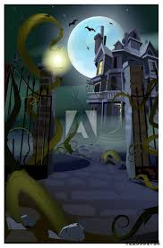 Dark Gothic House With Flying Bats Vector Illustration Open Gates Of Fence With Growing Roots Halloween Concept Buy This Stock Vector And Explore Similar Vectors At Adobe Stock Adobe Stock