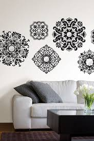 Geometric Wall Decal Black Sticker Giant Damask Art And Grey Vinyl For Bedrooms White Heart Vamosrayos
