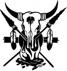 Cow Skull Spears Campfire Feathers Car Or Truck Window Decal Sticker Rad Dezigns
