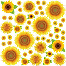 Amazon Com Rajahubri Sunflowers Wall Sticker Yellow Flowers Wall Decals Floral Removable Wall Stickers Wall Decal For Kids Nursery Bedroom 45pcs Kitchen Dining
