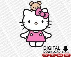 Hello Kitty Svg Hello Kitty Svg Archivos Hello Kitty Clipart Etsy