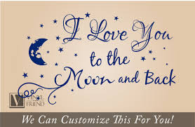 I Love You To The Moon And Back Quote A Wall Decor Vinyl Lettering Decal Words With Moon And Stars Graphic X Large 2152