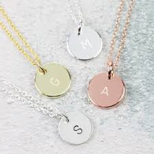 disc charm initial necklace