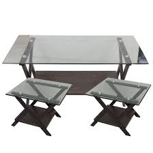 brown color glass top coffee table