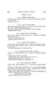 ALUMNI OF SYRACUSE UNIVERSITY I035 Principal, Unipn School and Academy,  Round Lake, N.Y., I902-4; High School, Valley Falls, N.