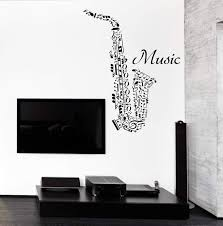 Vinyl Decal Wall Sticker Word Clouds Music Notes Shape Saxophone N966 Wallstickers4you