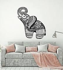 Vinyl Wall Decal Little Elephant Ornament Animal Flowers Stickers G2951 Ebay