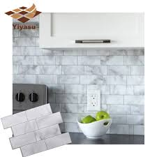 3d White Grey Marble Mosaic Peel And Stick Wall Tile Self Adhesive Backsplash Kitchen Bathroom Home Wall Decal Sticker Vinyl Wall Stickers Aliexpress