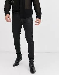 mens leather look skinny jeans up to
