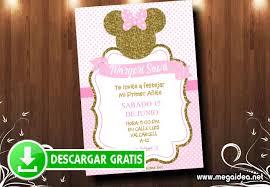 Invitaciones Minnie Gold Para Editar Mega Idea