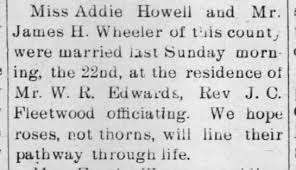 ADDIE BELLE HOWELL AND JAMES HENRY WHEELER MARRIAGE ANNOUNCEMENT 1899 -  Newspapers.com