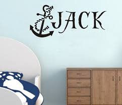 Personalized Custom Name Anchor Pirate Hook Wall Stickers Decals Vinyl Free Shipping Kids Wall Decals Wall Stickers Wall Quotes Decals