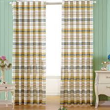 Simple Casual Yellow And Blue Striped Kids Room Curtains
