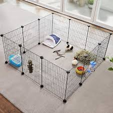 Metal Guinea Pigs Cages 12 Panels C C Runs Indoor Playpen Diy Animal Pet Grid Enclosure Fence Small Rabbit Puppy Hutches With Rubber Mallet Cable Ties 143 X 73 X 46 Cm Black Lpi01h