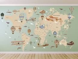 Avitation World Map Decal Airplane Map Wall Decal Clear Vinyl Decal Nursery Room Decals World Map Mural Hot Map Wall Decal Map Murals World Map Mural