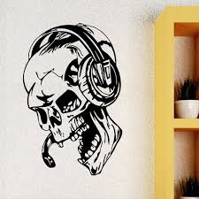 Skull With Music Headphones Wall Stickers For Boys Room Sale Up To 70 Stickersmegastore Com