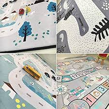 Village Olpchee Kids Play Mat Cartoon Carpet Baby Crawling Mat Foam Rug Play Car Traffic Game Pad Game Room Area Rug Rugs