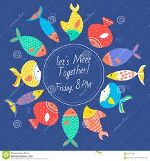 Tarjeta De La Invitacion Con Los Peces De Mar Multicolores