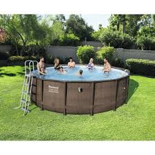 round pool above ground fake wicker